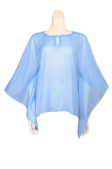 caftan top voile plain sky blue