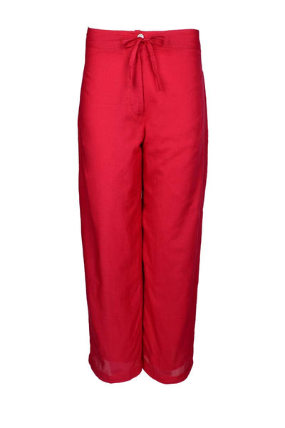 straight cut cotton pants, red pants, red trousers