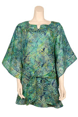 caftan style top with belt green