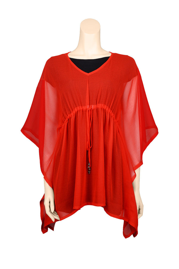 chiffon cover up red