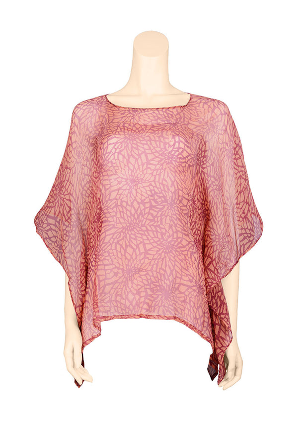caftan short top chiffon crinkled