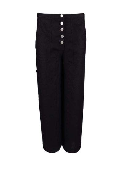 fashionable linen pants, linen pants with buttons, alternative cut pants
