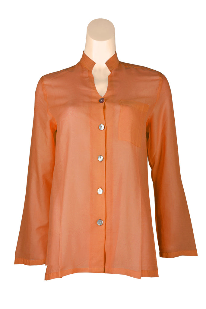 Orange Blouse with Buttons