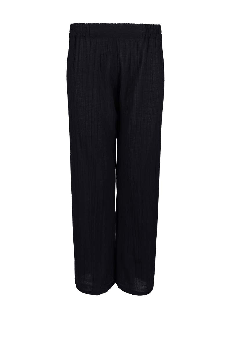 crinkled cotton cropped pants, cropped pants with elastic