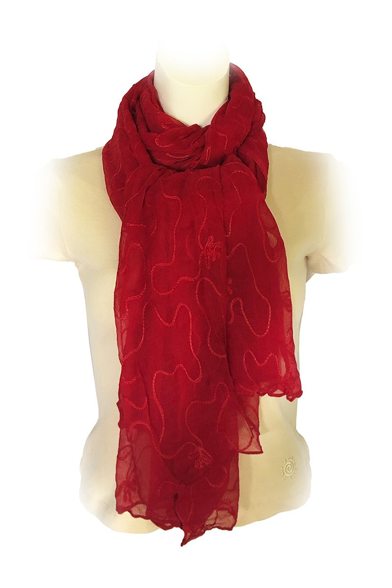 Red Chiffon Scarf Embroidered