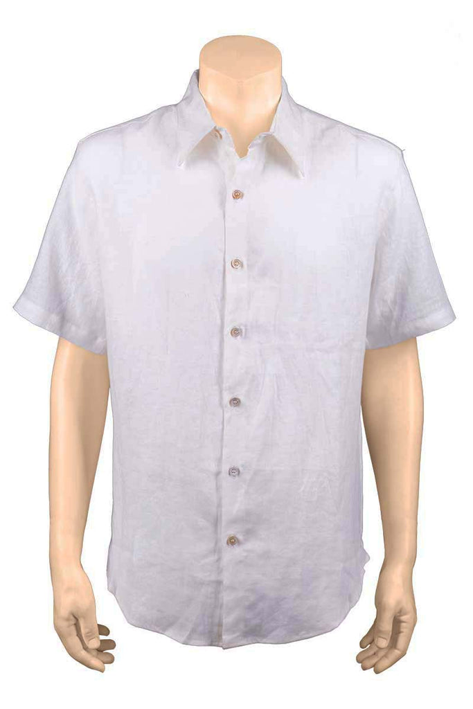 Men Short Sleeve White Shirt