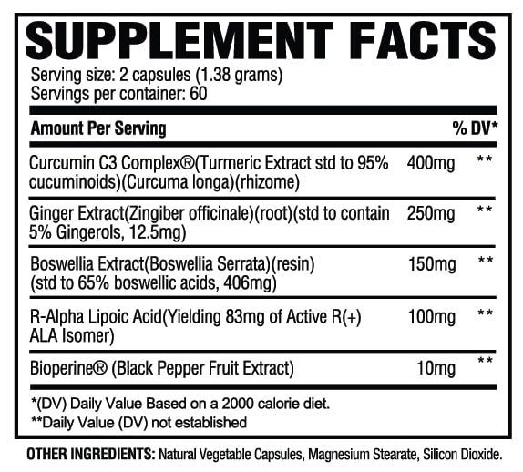 Turmeric+ Supplement Facts
