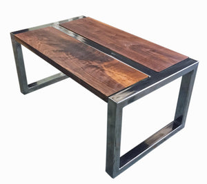 American Walnut and Polished Steel Coffee Table