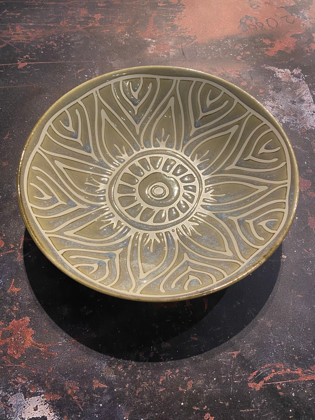 Patterned Stoneware Pasta Bowl