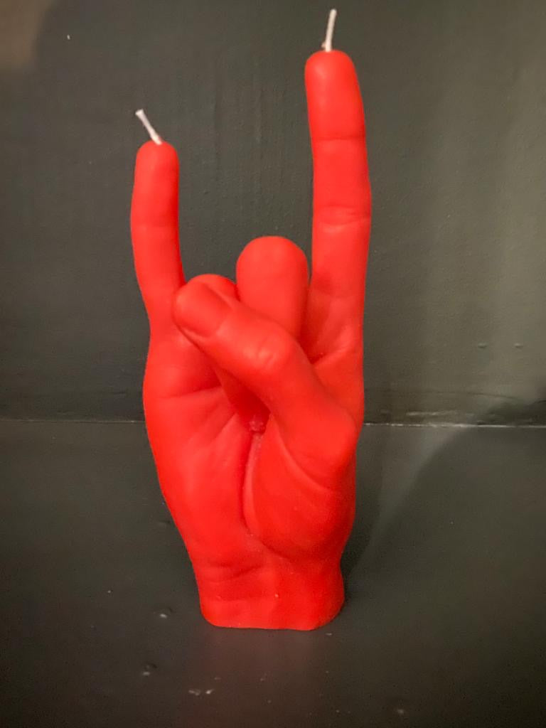 Candle Hand Red You Rock Candle