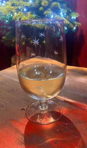 Star Etched Wine Glass