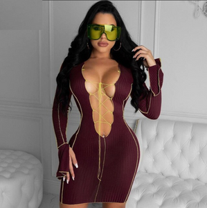 Tori Laced Dress (Burgundy)