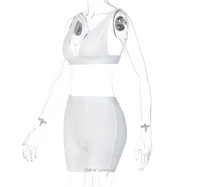 Load image into Gallery viewer, Casual Two Piece Shorts Set (White)