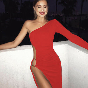 One Shoulder High Split Dress (Red)