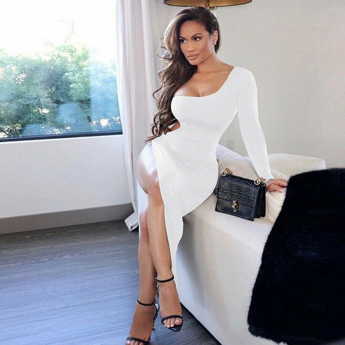One Shoulder High Split Dress (White)