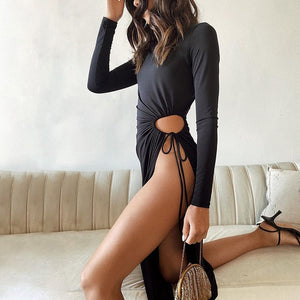 Gigi Sexy High Split Dress (Black)