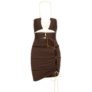 Star Party Dress (Brown)