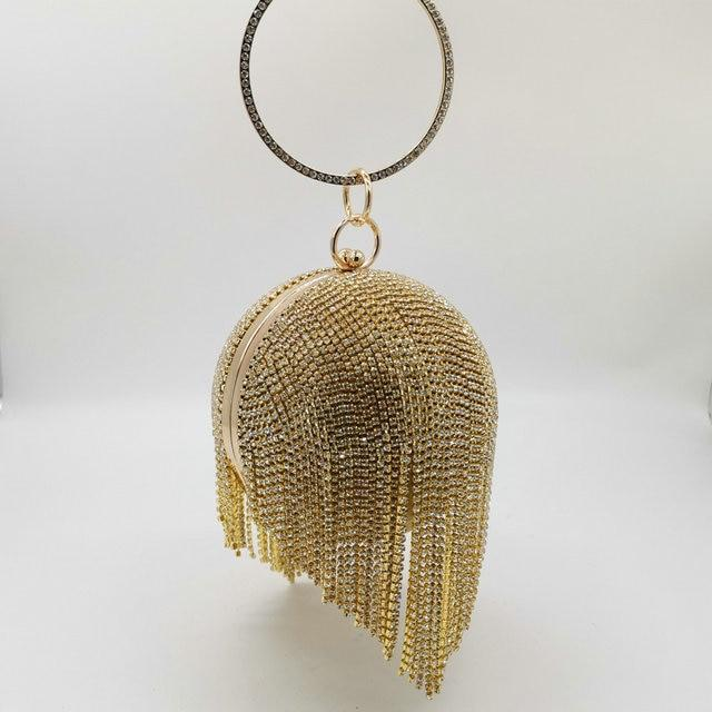 Crystal Diamond Tassel Clutch (Gold)
