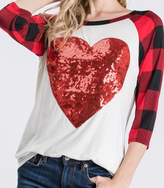 Sequin Heart Plaid Tee