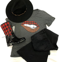 Cheetah/Plaid Lip Tee