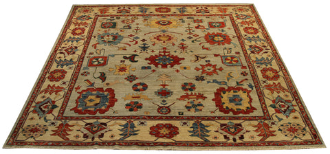 "22485 - Chobi Ziegler Hand-Knotted/Handmade Afghan Rug/Carpet Modern Authentic/Size 9'3"" x 7'11"""