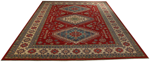 "22413 - Kazak Hand-Knotted/Handmade Afghan Tribal/Nomadic Authentic/Size 13'8"" x 10'4"""
