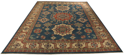 "22420 - Kazak Hand-Knotted/Handmade Afghan Tribal/Nomadic Authentic/Size 13'11"" x 10'2"""