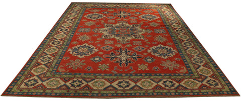 "22421 - Kazak Hand-Knotted/Handmade Afghan Tribal/Nomadic Authentic/Size 13'7"" x 10'2"""