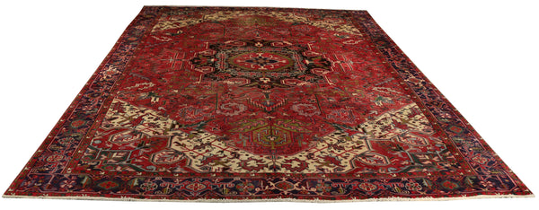 "22364 - Heriz Hand-Knotted/Handmade Persian Rug/Carpet Tribal/Nomadic Authentic/Size 12'4"" x 9'11"""