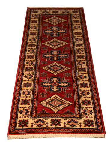 "22528 - Kazak Hand-Knotted/Handmade Afghan Tribal/Nomadic Authentic/Size 5'5"" x 2'0"""