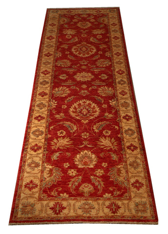 "22302 - Chobi Ziegler Hand-knotted/Handmade Afghan Rug/Carpet Traditional Authentic/Size 7'9"" x 2'5"""
