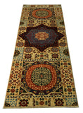 "22301 - Chobi Ziegler Hand-knotted/Handmade Afghan Rug/Carpet Traditional Authentic/Size 7'1"" x 2'7"""