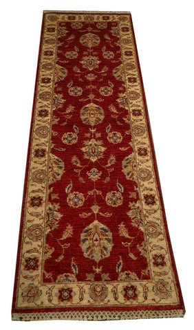 "22313 - Chobi Ziegler Hand-knotted/Handmade Afghan Rug/Carpet Traditional Authentic/Size 6'6"" x 2'0"""