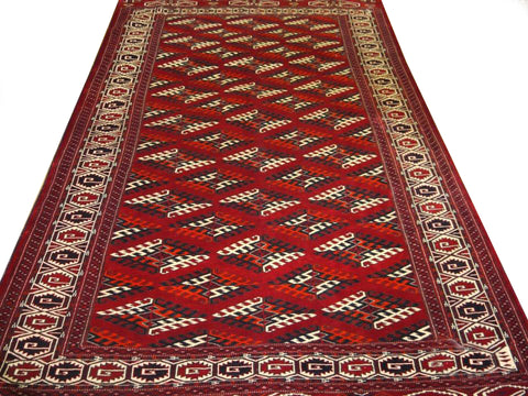 "10664 - Turkoman Russian Hand-knotted Semi-antique Tekke-design Authentic/Traditional Nomadic/Tribal Carpet/Rug 10'3"" x 6'6"""