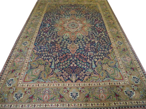 "13429 - Tabriz Persian Hand-knotted Authentic/Traditional Carpet/Rug Silk-made 9'11"" x 6'7"""
