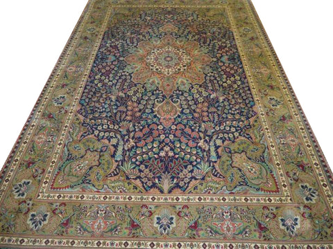 13430 - Tabriz Persian Hand-knotted Authentic/Traditional Carpet/Rug Silk-made