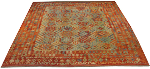 "22407 - Kelim Hand-Knotted/Handmade Afghan Rug/Carpet Tribal/Nomadic Authentic/Size 9'9"" x 8'8"""
