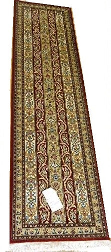"14233 - Qom Persian Hand-knotted Authentic/Traditional Runner Silk-made  6'7"" x 1'9"""
