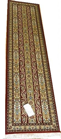 14233 - Qom Persian Hand-knotted Authentic/Traditional Runner Silk-made
