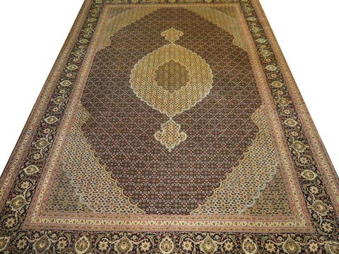 "14617 - Tabriz Persian Hand-knotted Authentic/Traditional Carpet/Rug Silk-made Signed-piece 10'4"" x 6'7"""