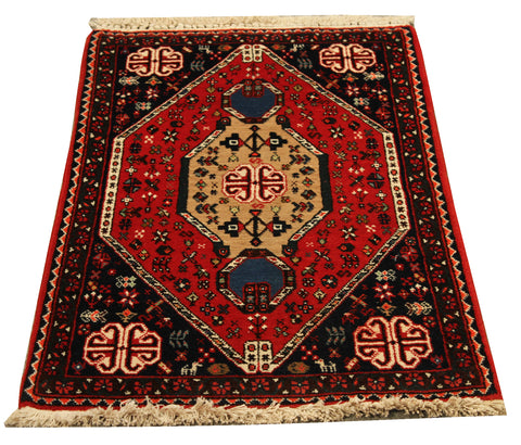 "22098 - Abadeh Hand-Knotted/Handmade Persian Rug/Carpet Authentic/Size 3'3"" x 1'9"""