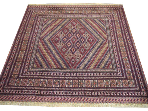 "15387-Kelim Hand-Knotted/Handmade Persian Rug/Carpet Tribal/Nomadic Authentic 6'5"" x 5'4"""