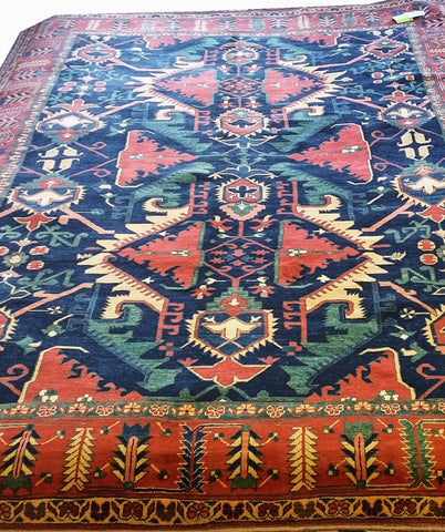"16254--Kazak Hand-Knotted/Handmade Afghan Rug/Carpet Tribal/Nomadic Authentic 11'10"" x 8'6"""