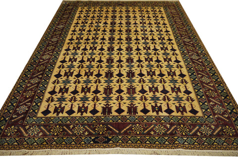 "19369-Royal Shirvan Handmade/Hand-knotted Afghan Rug/Carpet Tribal/Nomadic Authentic8'6"" x 6'5"""