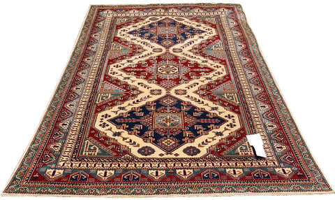 "19396-Royal Shirvan Handmade/Hand-Knotted Afghan Rug/Carpet Tribal/Nomadic Authentic 8'5"" x 5'5"""