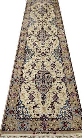 19421-Isfahan Hand-Knotted/Handmade Persian Rug/Carpet Traditional Authentic 10'9''x2'9''