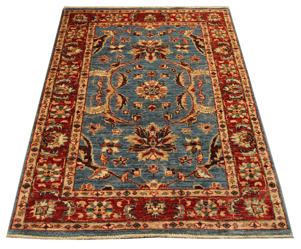 "22285 - Chobi Ziegler Hand-Knotted/Handmade Afghan Rug/Carpet Modern Authentic/Size 4'2"" x 2'8"""
