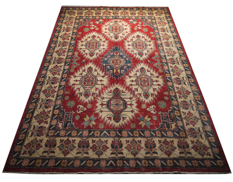 "21512-Kazak Hand-Knotted/Handmade Afghan Rug/Carpet Tribal/Nomadic Authentic 10'11"" x 7'4"""