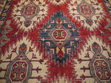 21512-Kazak Hand-Knotted/Handmade Afghan Rug/Carpet Tribal/Nomadic Authentic