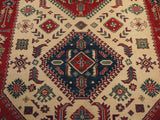 21513-Kazak Hand-Knotted/Handmade Afghan Rug/Carpet Tribal/Nomadic Authentic
